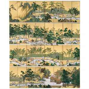 蘭亭曲水図屏風(八曲二双)・江戸時代 狩野山雪筆(重要文化財)