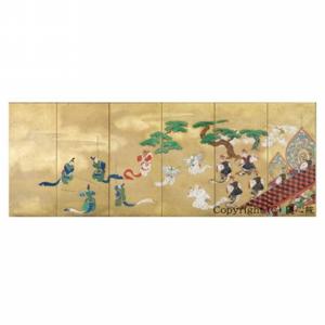 舞楽図屏風(六曲一隻)・江戸時代 狩野探信筆